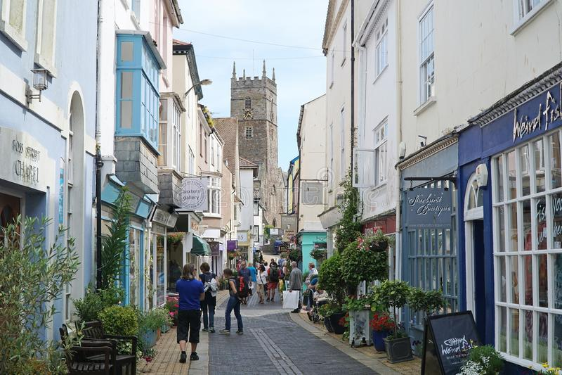 Oberoende shoppar och gallerier, Dartmouth, Devon royaltyfri fotografi