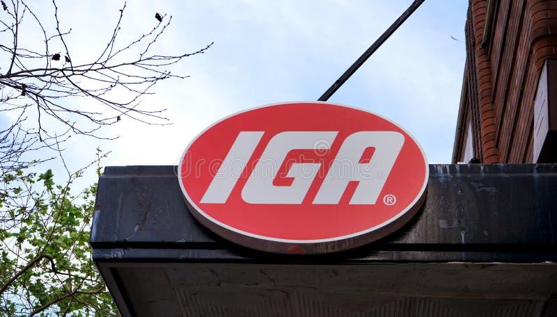 Oberoende specerihandlare av Australien eller IGA är ett nätverk av små oberoende supermarket, liksom detta lager som lokaliseras arkivbilder