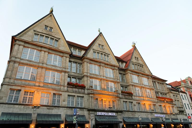 Oberpollinger department store, Munich, Germany. MUNICH, GERMANY - AUGUST 2, 2015: The department store Oberpollinger stock photography
