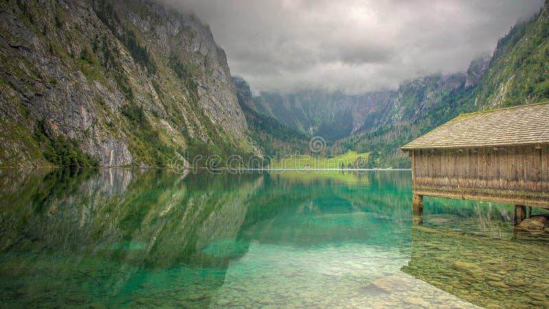 Obersee budy Schönau Łódkowaci alps Niemcy fotografia royalty free
