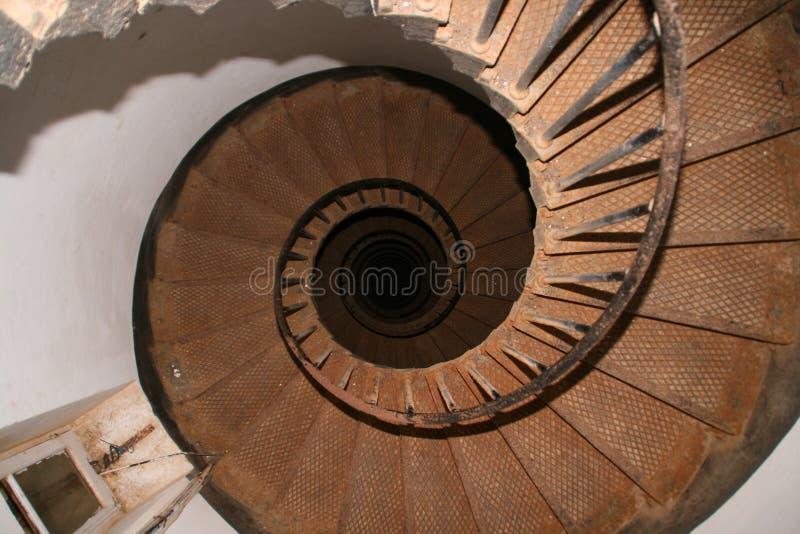 Oberseitenansicht eines gewundenen Treppenhauses lizenzfreie stockbilder