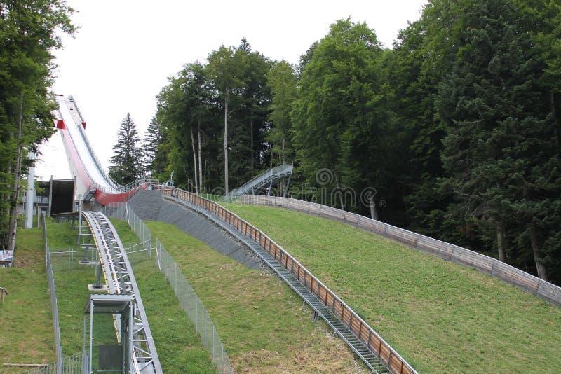 Oberstdorf Oberstdorf skidar flygkullen royaltyfria bilder