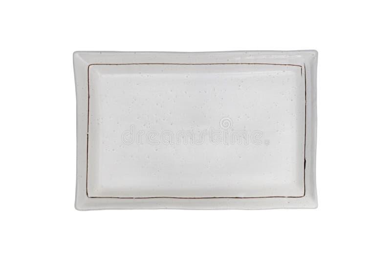 Oberste Ansicht-leere graue keramische quadratische Tellerplatte lokalisiert auf weißem Hintergrund lizenzfreie stockbilder