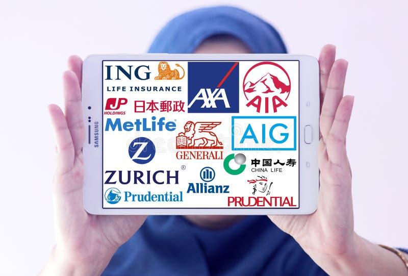Oberste berühmte Versicherungsgesellschaftslogos und -marken lizenzfreie stockfotografie
