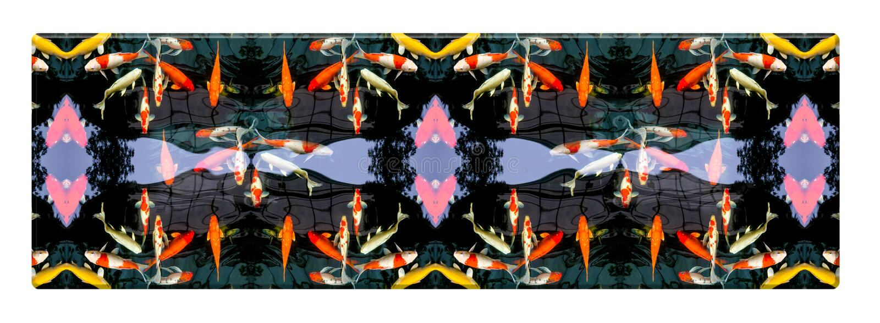 Oberste lange Tabelle mit fantastischem Karpfen im Teich, lokalisiert auf weißem Hintergrund, buntes Muster lizenzfreie abbildung