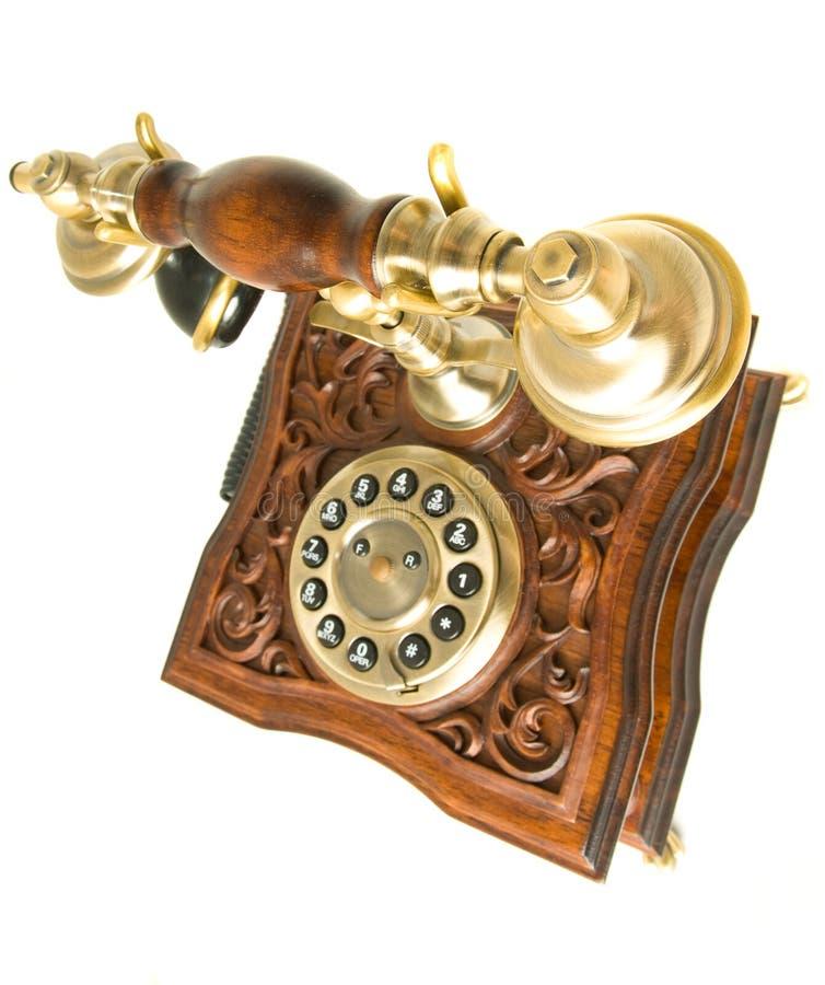 Oberste Seitenansicht des alten Telefons stockbild