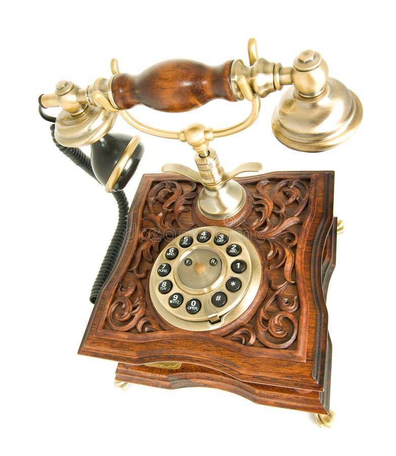 Oberste Seitenansicht des antiken Telefons lizenzfreie stockbilder