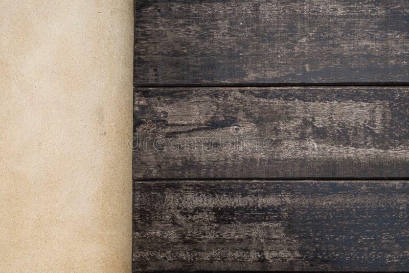 Oberster hölzerner und Zementboden Hölzerne Beschaffenheit für Beschaffenheit des Hintergrundes lizenzfreies stockfoto
