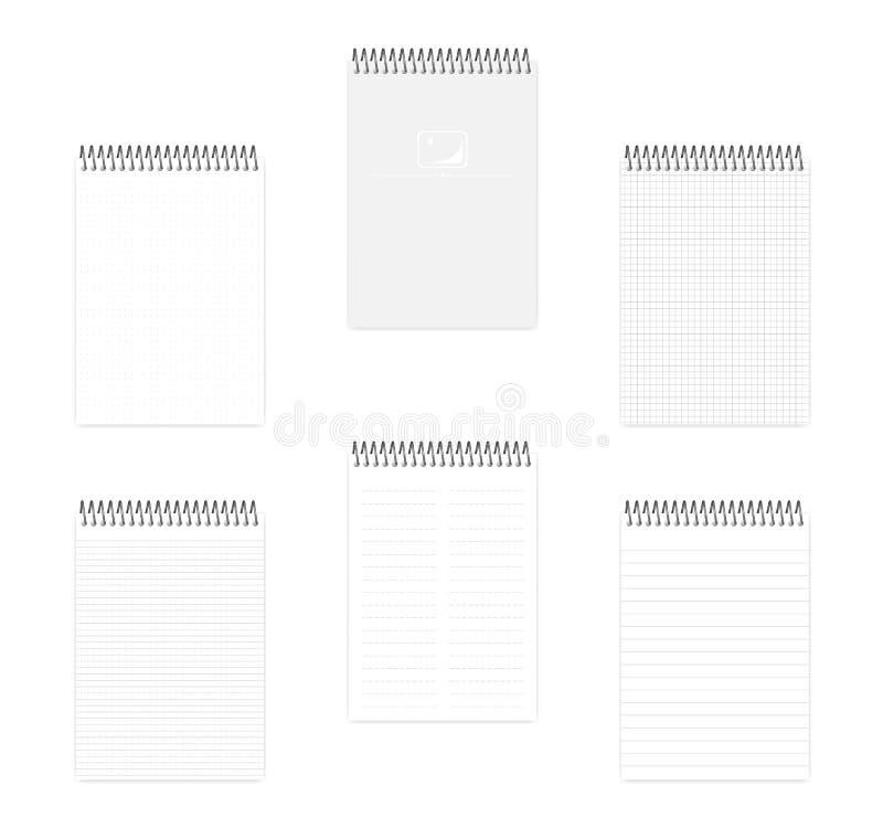 Oberstes gewundenes Notizbuch A5 mit verschiedenem angeordnetem Papier, Vektorspott oben vektor abbildung