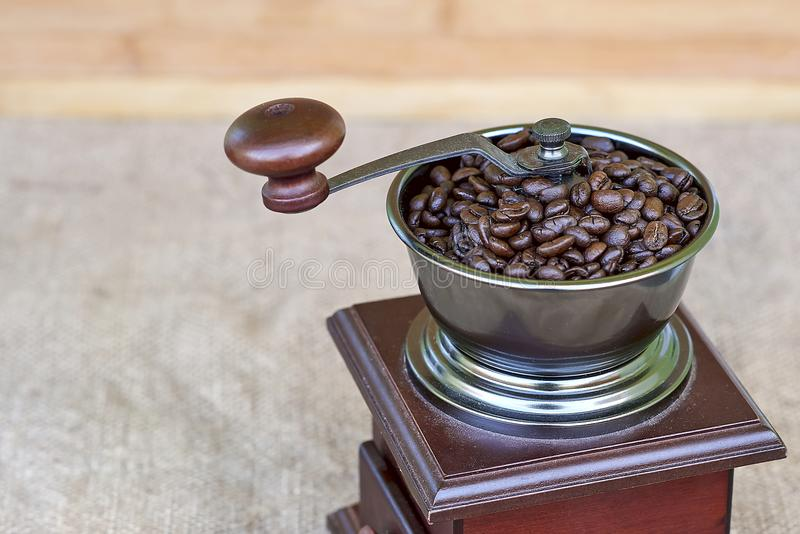 Oberteil der Kaffeemühle voll der Röstkaffeebohnen stockfotografie
