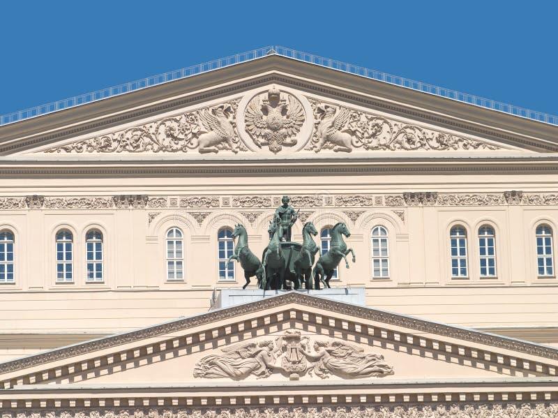 Oberteil des Bolshoi Theaters in Moskau Russland stockfoto
