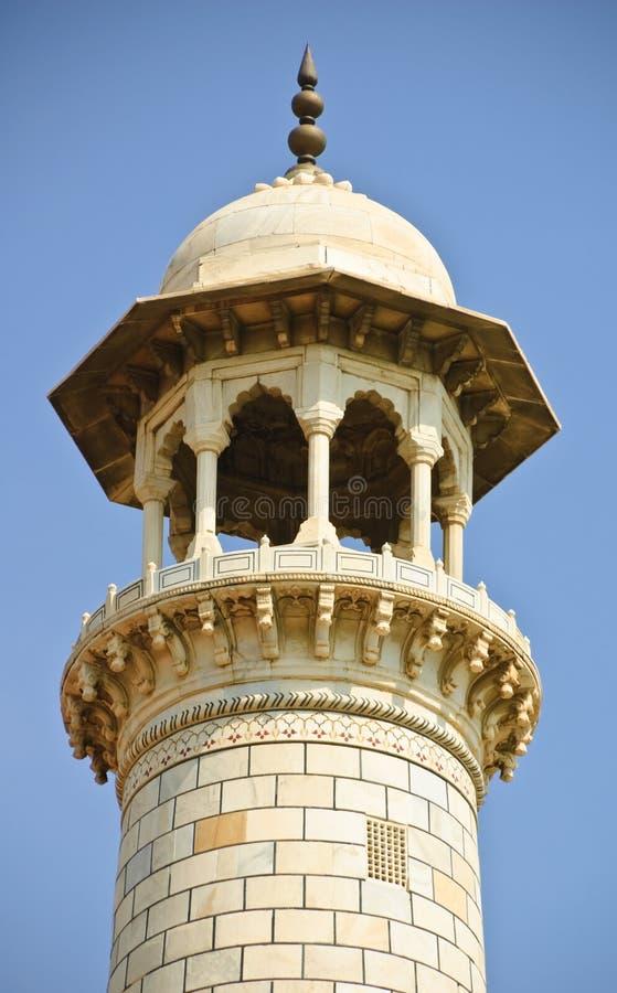 Oberteil des Minaretts in Taj Mahal, Indien stockfotos
