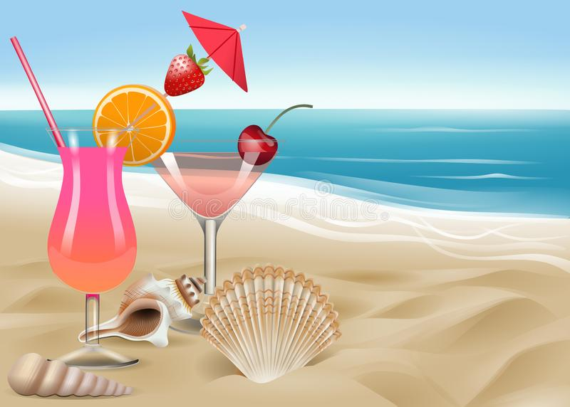 Oberteile und Cocktails auf dem Strand stock abbildung