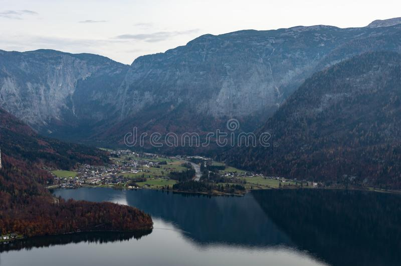 Obertraun, See Hallstatt-Vogelperspektive Natur, Ober?sterreich lizenzfreie stockfotos