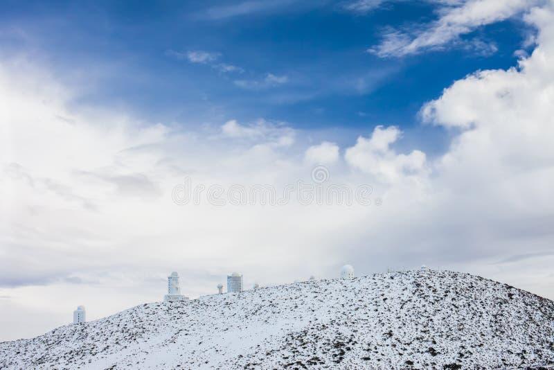 Obervatório astronômico no parque nacional de Teide, Tenerife fotos de stock royalty free