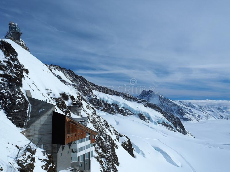 Obervatório da esfinge, platô de Jungfrau, cumes suíços, Suíça foto de stock royalty free