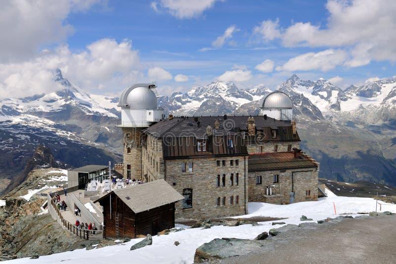 Obervatório de Gornergrat, Switzerland fotografia de stock
