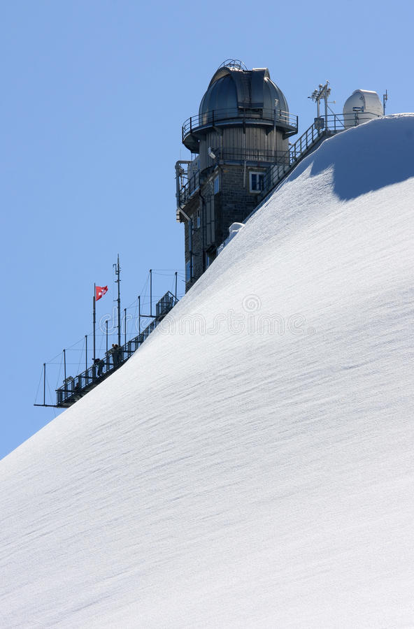 Obervatório e em cima do Sphinx suíço da montanha fotos de stock royalty free