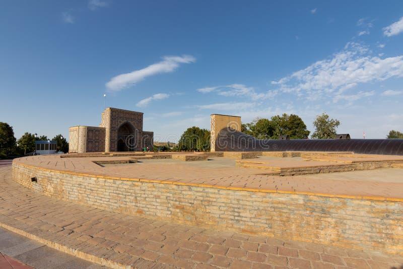 Obervatório no céu do fundo, medival, Samarkand de Ulugbek fotos de stock royalty free