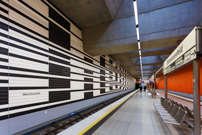 Oberwiesenfeld地铁站在慕尼黑 免版税库存照片