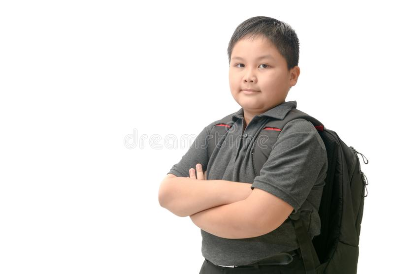 Obese asian student with school bag isolated royalty free stock images