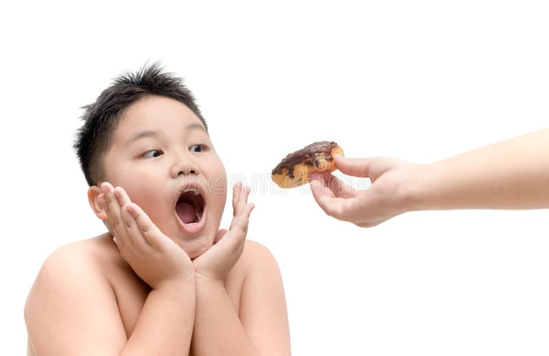 Obese boy is eating donut from mother hand isolated stock photos