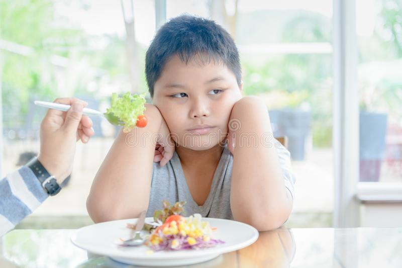 Obese boy with expression of disgust against vegetables royalty free stock images