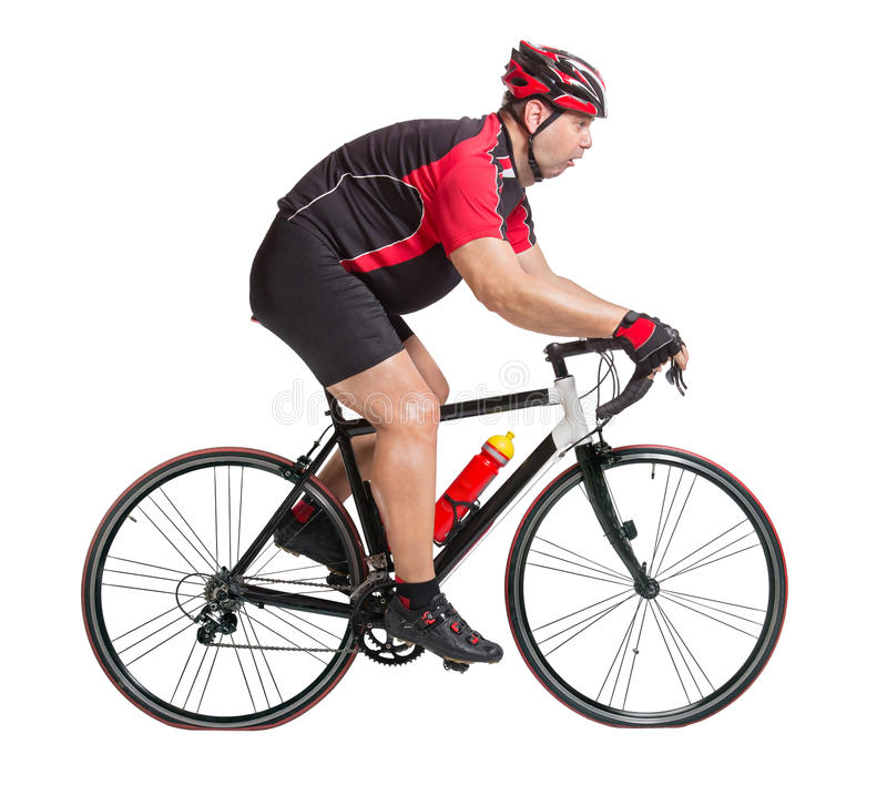 Obese cyclist riding a bicycle. Obese cyclist with difficulty riding a bicycle isolated on white background royalty free stock image