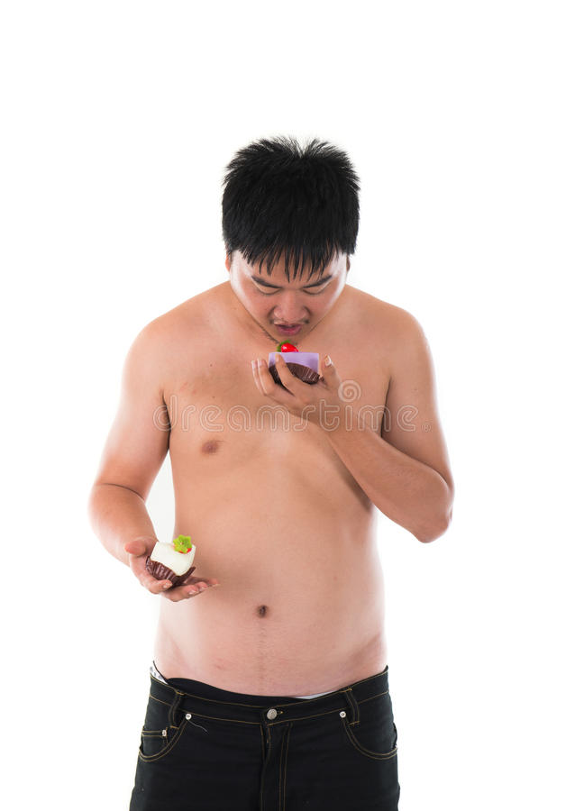 Obese fat asian male. With beer belly royalty free stock photo