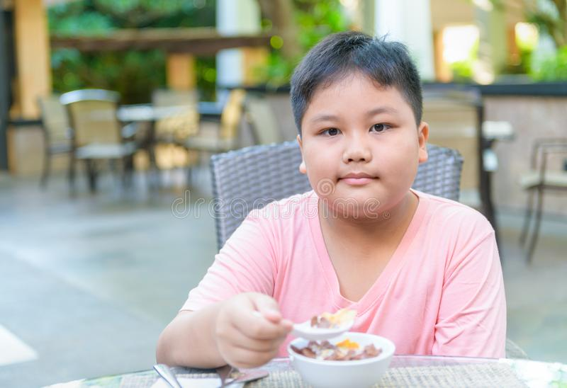 Obese fat boy eating cereal with the milk royalty free stock photography