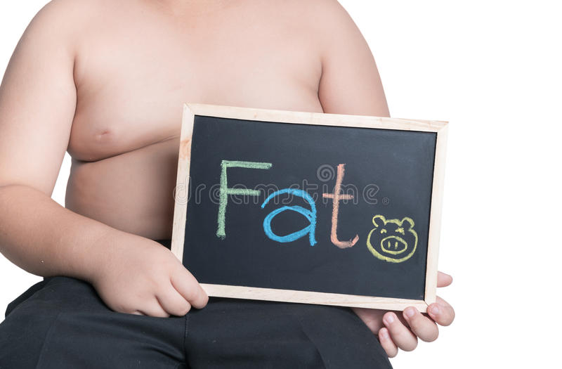 Obese fat boy holding blackboard royalty free stock images