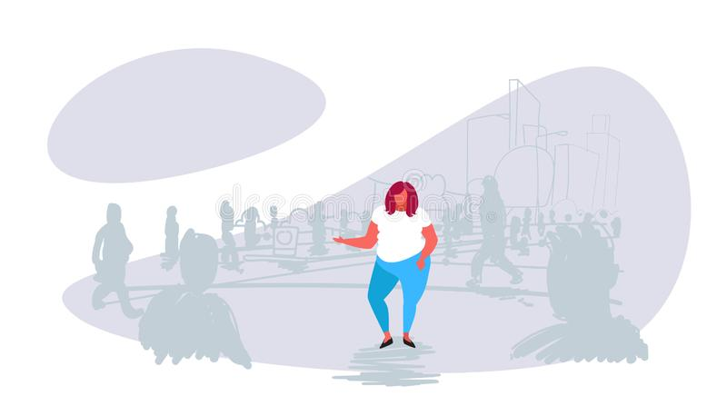 Obese fat woman standing out from crowd people silhouettes over size girl different individuality concept cityscape vector illustration