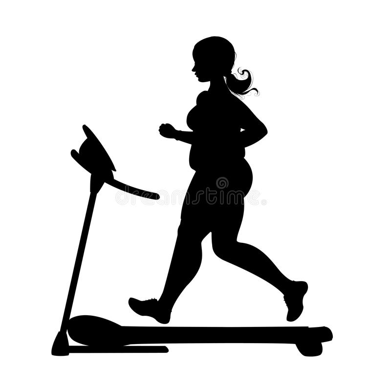 Obese girl silhouette running on a treadmill. Isolated on white background.stock vector illustration stock illustration