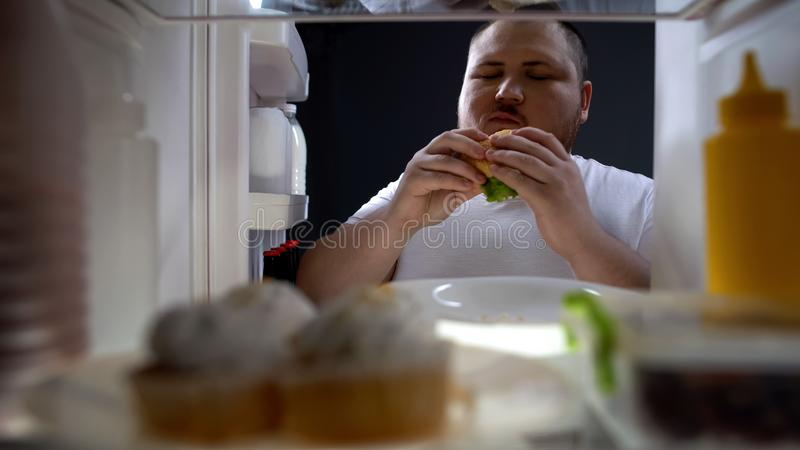 Obese man eating cheeseburger with pleasure, diet failure, unhealthy lifestyle. Stock photo royalty free stock photo