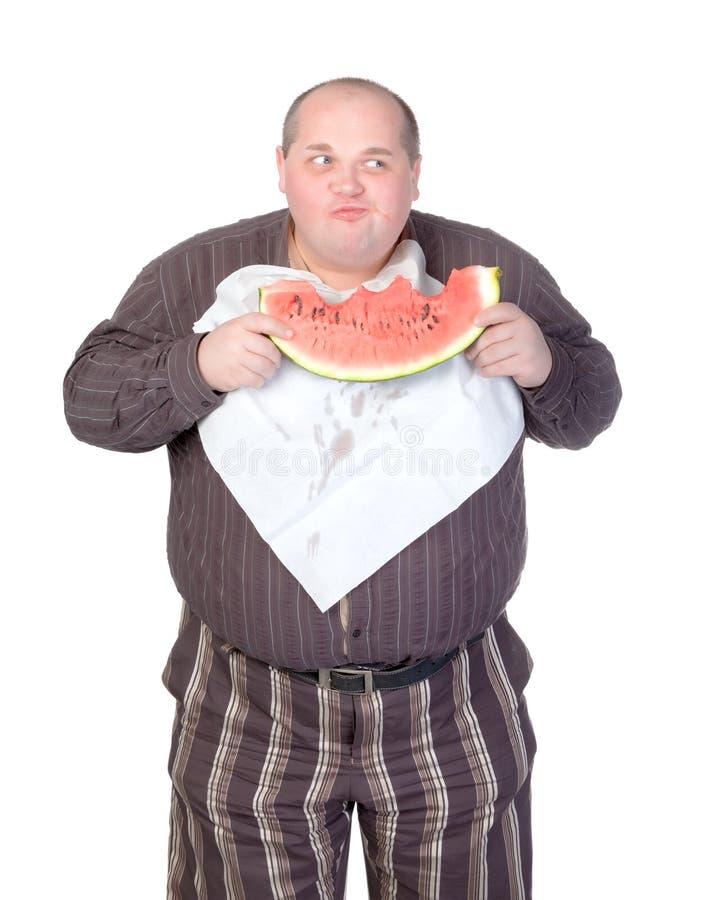 Download Obese Man Eating Watermelon Stock Illustration - Illustration: 27228528