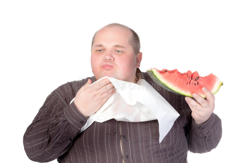Download Obese Man Eating Watermelon Stock Illustration - Illustration of buttons, diet: 27228536