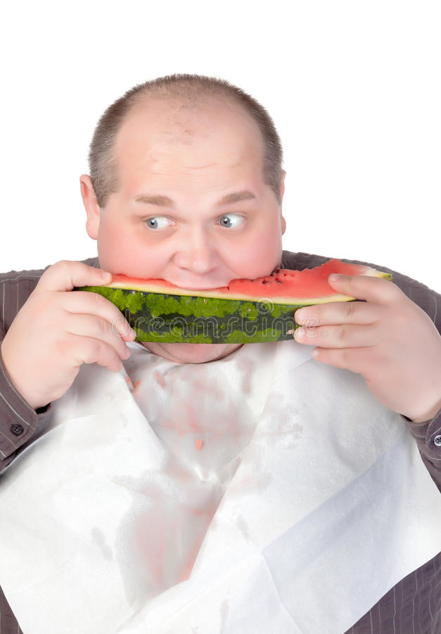 Download Obese Man Eating Watermelon Stock Illustration - Image: 27228540