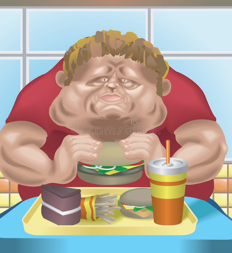 Obese man in fast food restaurant. An obese man in fast food restaurant consuming junk food. No meshes used vector illustration