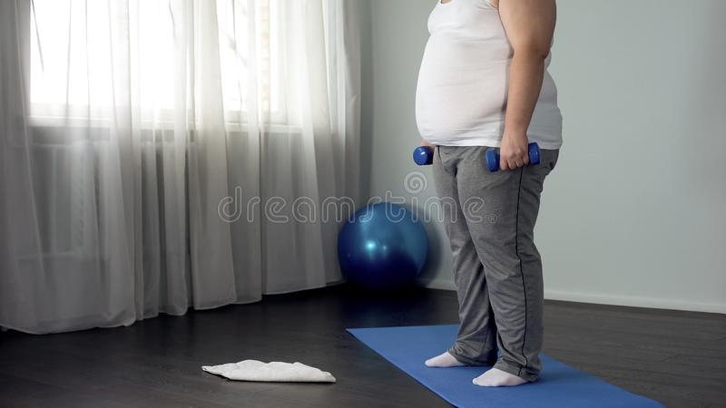 Obese man lifting dumbbells, working out at home, burning calories, motivation. Stock photo royalty free stock images