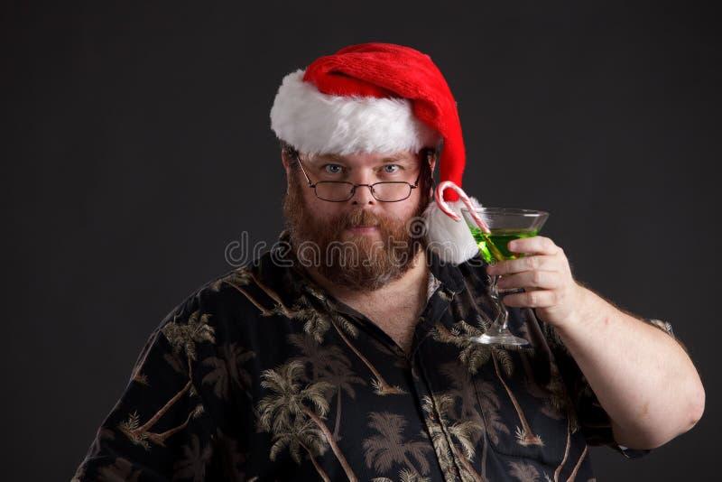 Obese Man In Santa Hat Stock Image
