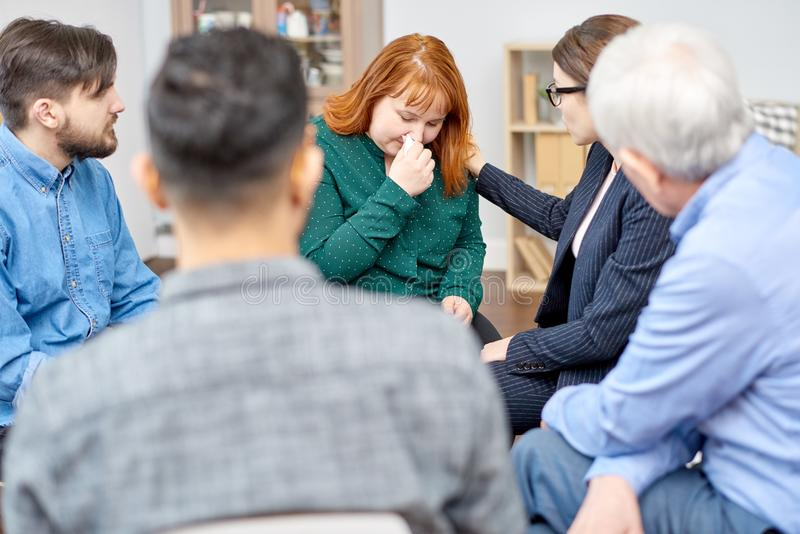 Obese Patient Participating in Therapy Session royalty free stock image