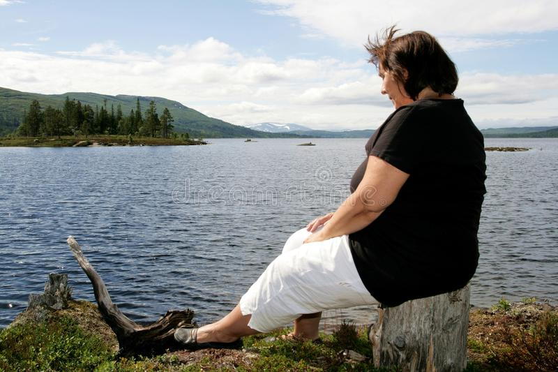 Download Obese woman stock image. Image of obese, brunette, gloomy - 26028705