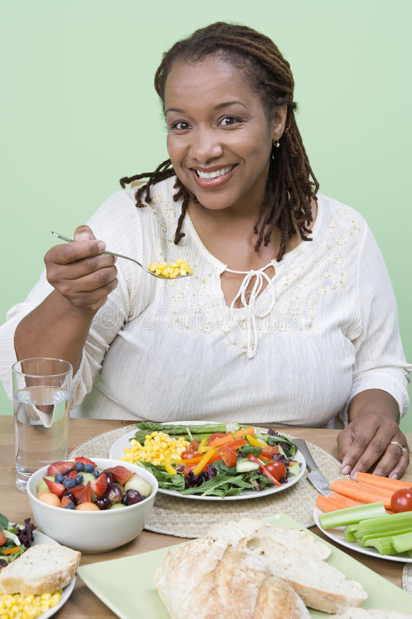 Download An Obese Woman Eating Food stock image. Image of nutrition - 29651977