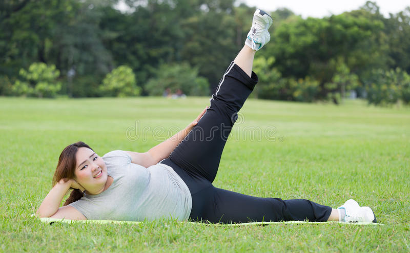 Obese women exercise . stock images