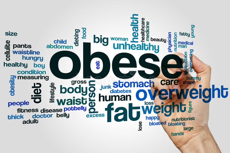 Obese word cloud. Concept on grey background royalty free stock image