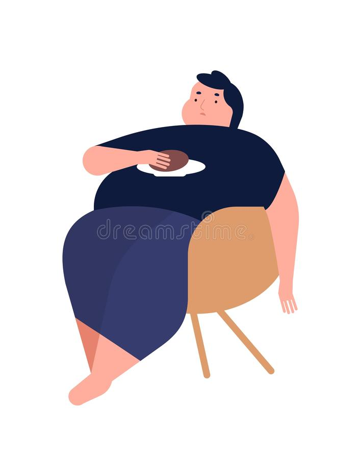 Obese young man. Fat boy sitting on chair. Concept of obesity, binge eating disorder, food addiction. Mental illness. Behavioral problem, psychiatric condition royalty free illustration