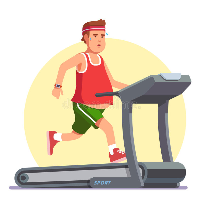Obese Young Man Running On Treadmill Stock Vector