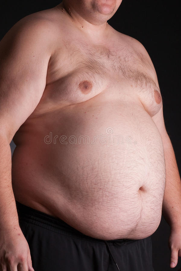 An obese young man stock image