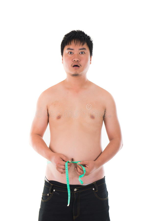 Obesese a choqué l'homme asiatique image stock