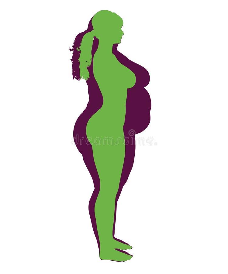 Obesidad de la mujer y ejemplo sano de la mujer ilustración del vector